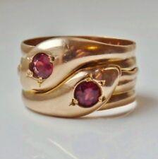 Stunning Antique 9ct Rose Gold Garnet set Entwined Snakes Ring c1919; Size 'V'
