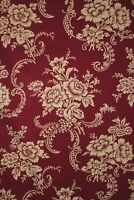 Antique Fabric Red Floral French Textile Fragment circa 1900 cotton material