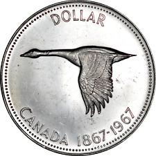 Canada Silver Dollar 1967 Flying Goose 100th Anniversary BU $ 80% Fine 0.60 oz