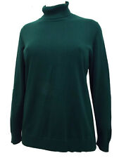 Fine Knit Pure Cotton Roll Neck Jumper PINE GREEN, BLACK or LILAC PURPLE 24-26