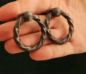 2x Antique wrought iron drawer puller