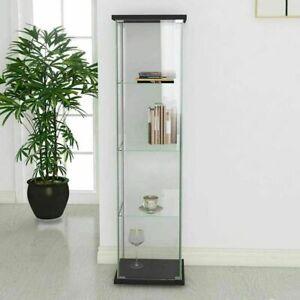 "4-Shelf Glass Curio Display Cabinet Rectangular Cabinet Bookshelf 64""x17""x14.5"""