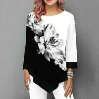 Women Asymmetric Floral Print Tops Blouse Ladies Long T-Shirt Tunic Sleeve J3X4
