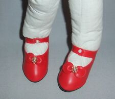 "4 pair Red Maryjane Shoes for Cloth Dolls 3.5"" or 89mm, Red & Rhinestones"