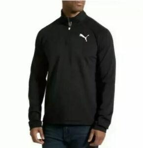 PUMA Essential Active 1/4 Zip Running Pullover Top LS Black Mens M Medium