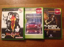 3 Games: Project Gotham, Soul Calibur 2, Tom Clancy's Splinter Cell Pandora,XBOX