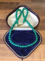Green Bead Glass Vintage Necklace Choker
