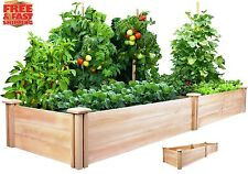 8 Ft Wood Cedar Raised Garden Kit Planter Box Bed Vegetables Herbs Flowers Grow