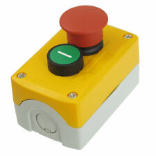 NC Red Mushroom NO Green Flat Momentary Pushbutton Switch Station SPST 240V 3A
