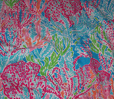 RARE LILLY PULITZER FABRIC*LETS CHA CHA**BLUE BOLD PINK GREEN  *17X17*COTTON*