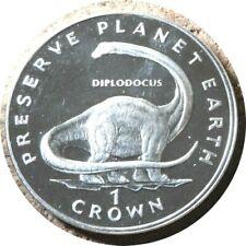 elf Iom Isle of Man 1 Crown 1993 Diplodocus Silver Proof Dinosaur