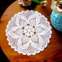 30cm White Round Cotton Blend Hand Crochet Floral Lace Doily Placemat Table Mat