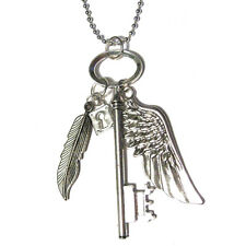 Big Key with lock Angel Wing and feather Pendant Silver Plated Cluster Necklace