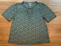 H&M Womens Multicolored Green Floral Short Sleeve Button Top Blouse Size Small