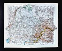 1911 Stieler Map West Siberia Russia Asia Mongolia Tobolsk Omsk Perm Orenburg