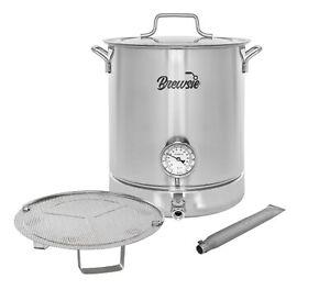 BREWSIE Stainless Steel Home Brew Kettle w/ Thermometer, Ball Valve, Mash Tun