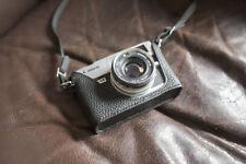 Genuine Real Leather Half Camera Case Bag Cover for Canon QL17 GIII G3 Black