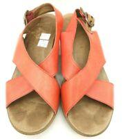 Dansko Red Leather X-Strap Slingback Wedge Block Heel Sandals Women's 40 / 10