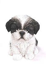Sitting Black SHIH TZU Puppy Dog  Life Like Figurine Statue Home Garden NEW