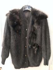 Vintage Black Mink Fur Angora Sweater Button Up Cardigan Korean Fisher Fashion