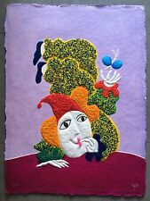 Juan Garcia Ripolles Painting on Paper with Murano Glass Ripollés 1/1 P.A. Clown