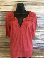 Womens Lucky Brand Short Sleeve Shirt Size Medium Blouse Top V-neck Casual coral