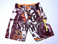 Unit Mens Board Shorts Size 32  Bikini Girls Orange & Brown Beach Boardies