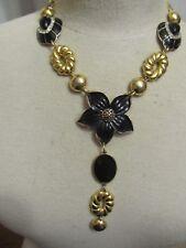 Marvella Black Enamel Flower Statement Necklace-A Repurposed Original!!