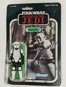 1983 Kenner Star Wars Biker Scout Action Figure Short Mouth No Coo Mexico & Card