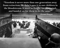 Ronald Reagan Quote Normandy D-Day Invasion World War 2 WWII 8 x 10 Photo