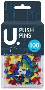 Back To School Stationery100 Push Pin Assorted Multi Colours Drawing Pins Bagged