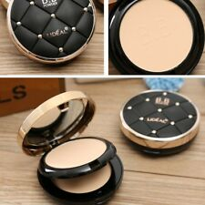 Face Pressed Powder Compact Smooth Contour Foundation Makeup + Puff Set Beauty