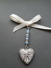 Wedding Bouquet Charm Bridal Silver Heart Locket Pendant 4 Pale Blue Pearls