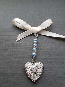 Wedding Bouquet Charm Bridal Silver Heart Locket Pendant 4 Pale Blue Pearls