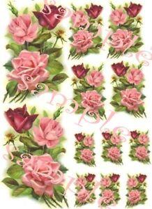 Shabby 3 Vintage Roses Waterslide Decals