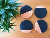 round slate coasters & placemats, copper dipped, new home gift, handmade UK,