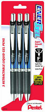 Pentel Energel Deluxe Liquid Gel Pens Retractable Black Ink Fine 0.5mm Line