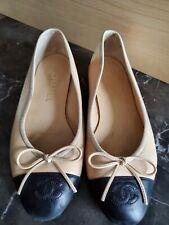 *** CHANEL Classic Bow Ballet Ballerina Flats Beige Black Toe Size 36