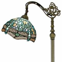 Tiffany Style Floor Lamp Reading Light Stained Glass Lampshade Tall Antique Home