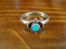 Silver 925 Ring Size 7 Round Turquoise Bead Look Design Sterling