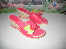 New ME TOO Pink Leather Flower Espadrille Sandals 10
