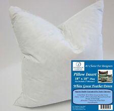 "18"" Pillow Insert: 35oz. White Goose Down - 2"" Oversized & Firm Filled"