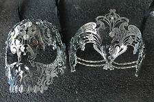 Silver Beauty & Demon Skull Couple Masquerade Masks with Clear Rhinestones