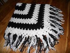hand crochet black and white shawl/blanket