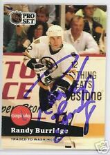 RANDY BURRIDGE BOSTON BRUINS 1991 PRO  AUTOGRAPHED HOCKEY CARD JSA