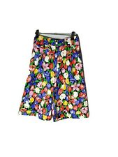 KATIES Vintage 90s Size 10 Floral High Rise Pleated Baggy Retro Shorts Roll Hem