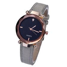 Women`s Fashion Rose Gold Black Dial Quartz Grey Leather Band Wrist Watch.