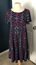 LulaRoe Carly Dress, Medium, Purple & Black Chevron w/Print Overlay