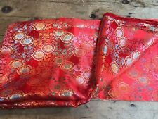 VINTAGE MID 20TH C RAYON CHINESE WOVEN RED TRADITIONAL FABRIC PIECE 3.1M