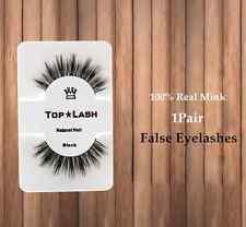 Fashion Natural 100% Real Mink Thick Eye Lashes Black False Eyelashes Beauty CA